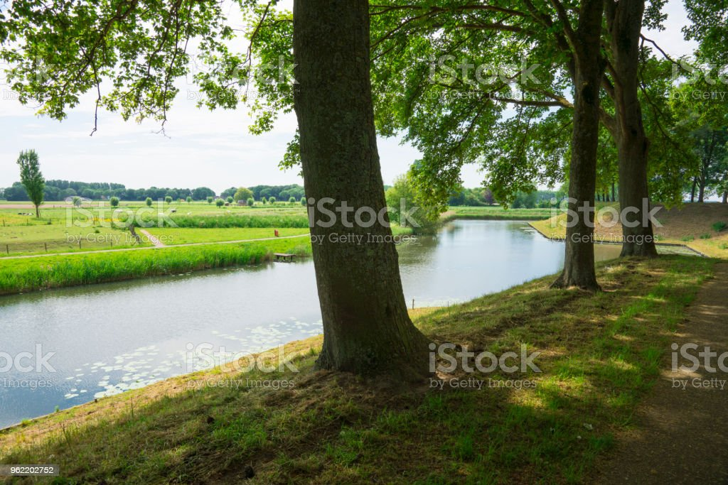 water landscape in fortified village Klundert, The Netherlands stock photo