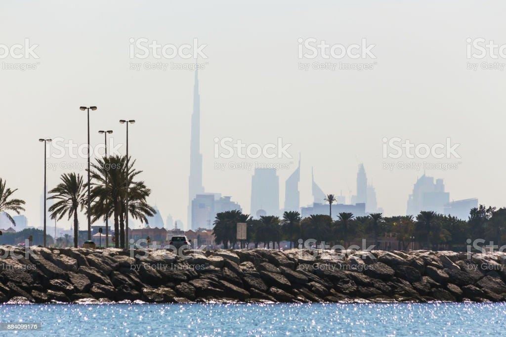 Water landscape with  views of Dubai cityline stock photo