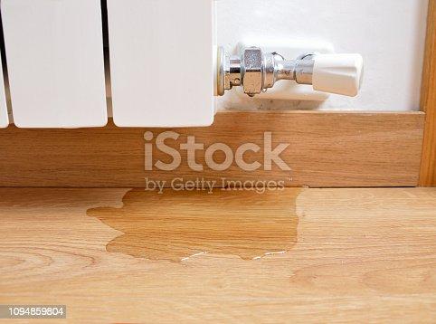 istock water leaking on the parquet floor 1094859804