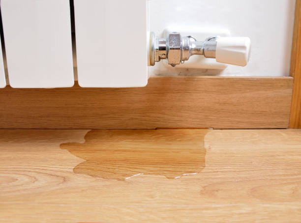 water leaking on the parquet floor stock photo