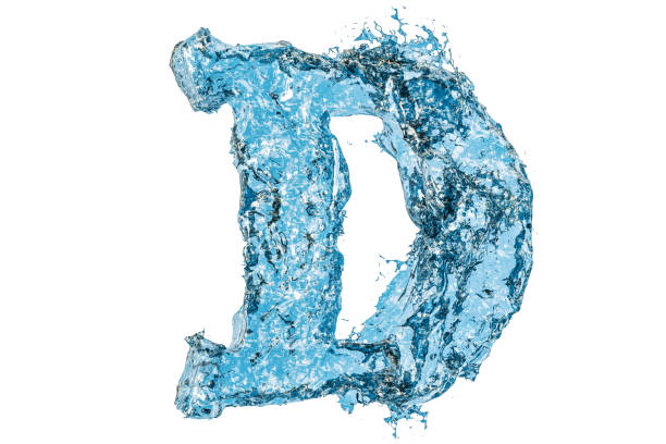 Water letter D, 3D rendering isolated on white background stock photo