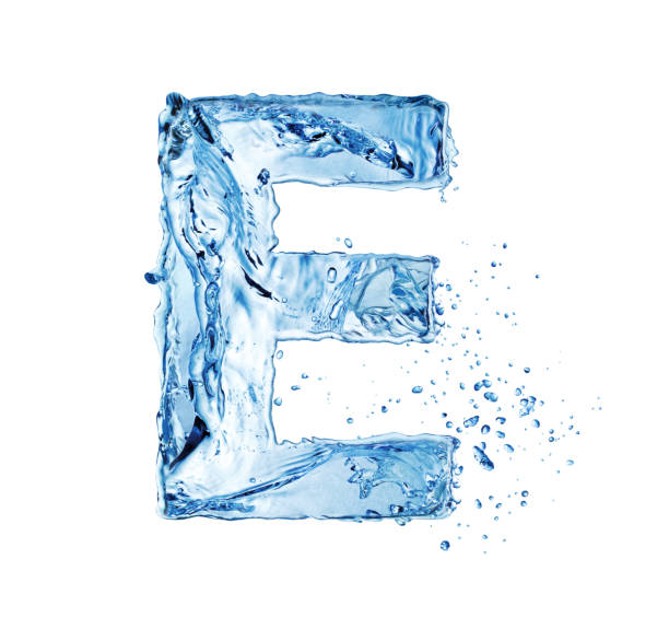 water letter E creative capital water letter E isolated on white background letter e stock pictures, royalty-free photos & images