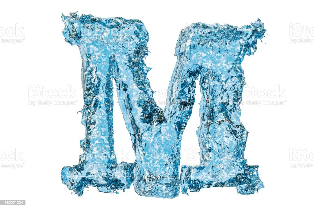 water letter m 3d rendering isolated on white background royalty free stock photo
