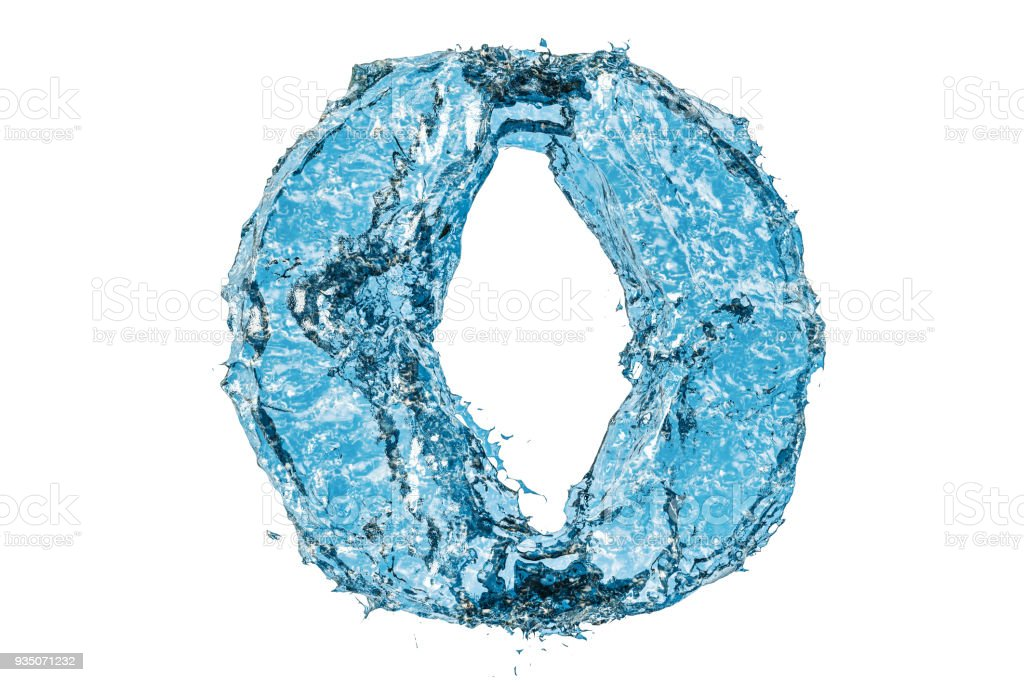 water letter o 3d rendering isolated on white background royalty free stock photo