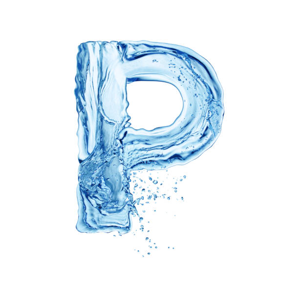 water letter P single water letter P isolated on white background letter p stock pictures, royalty-free photos & images