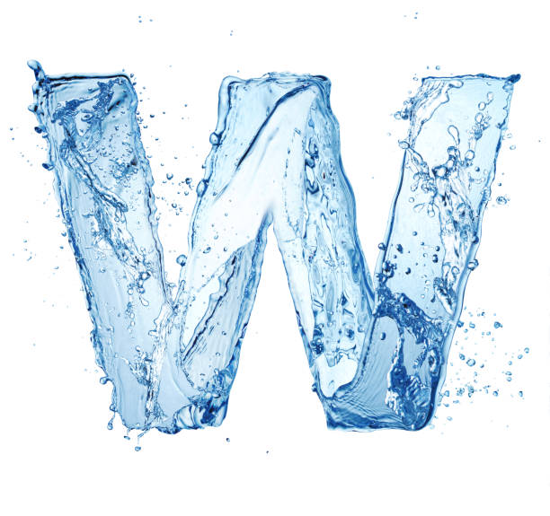 water letter W blue water splash alphabet letter W isolated on white background letter w stock pictures, royalty-free photos & images