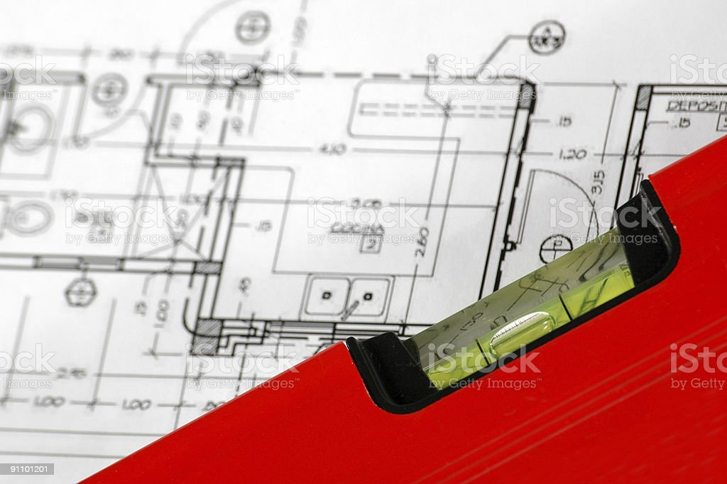 water level and home architectural plans royalty-free stock photo
