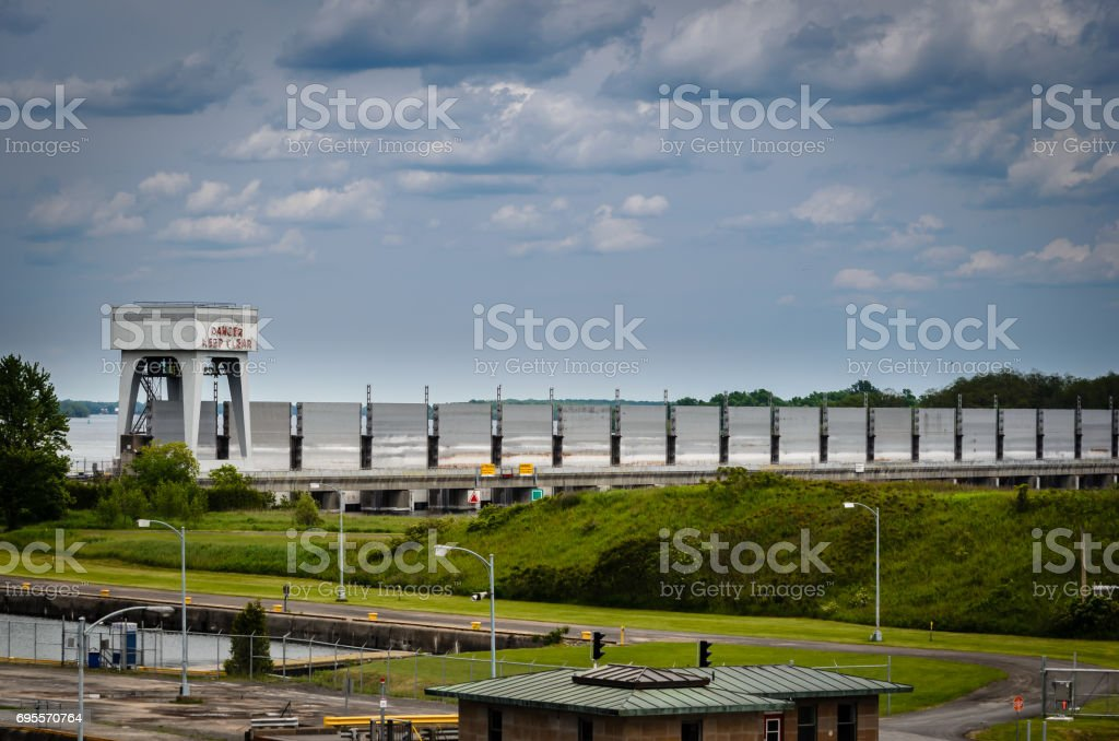 Water Level Control dam at Iroquois Lock on the St. Lawrence River stock photo