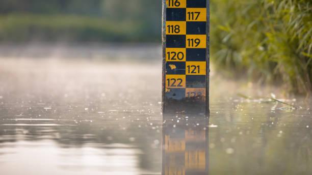 water level depth meter stock photo