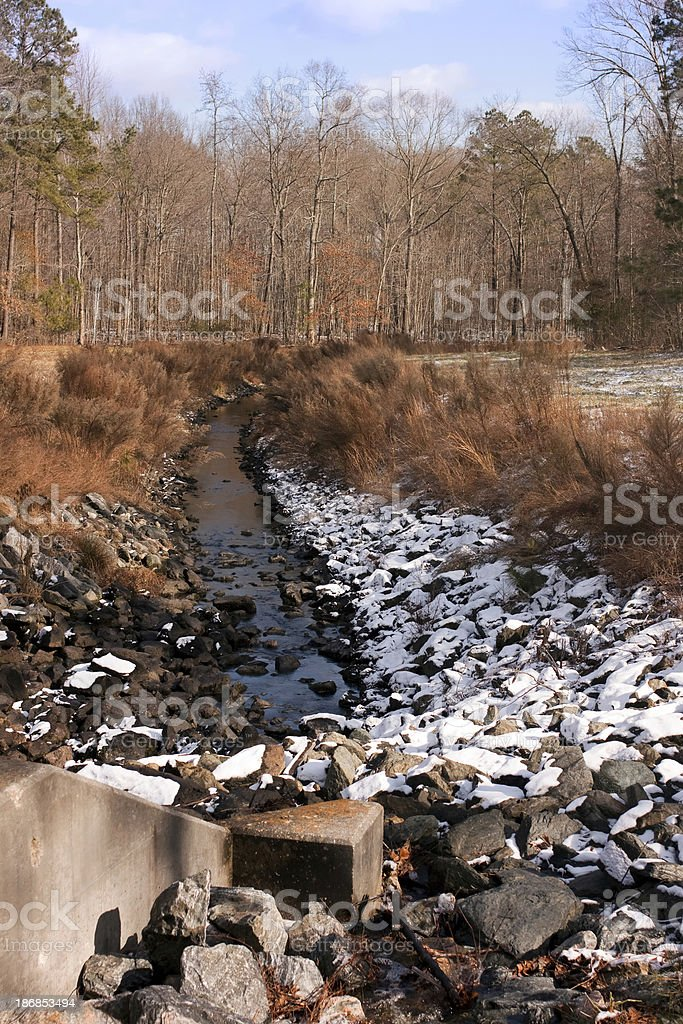 Water Management in the woods stock photo