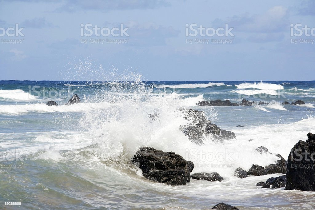 Water Meets Lava Rock royalty-free stock photo