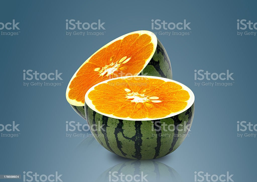 Water melon and Orange inside royalty-free stock photo