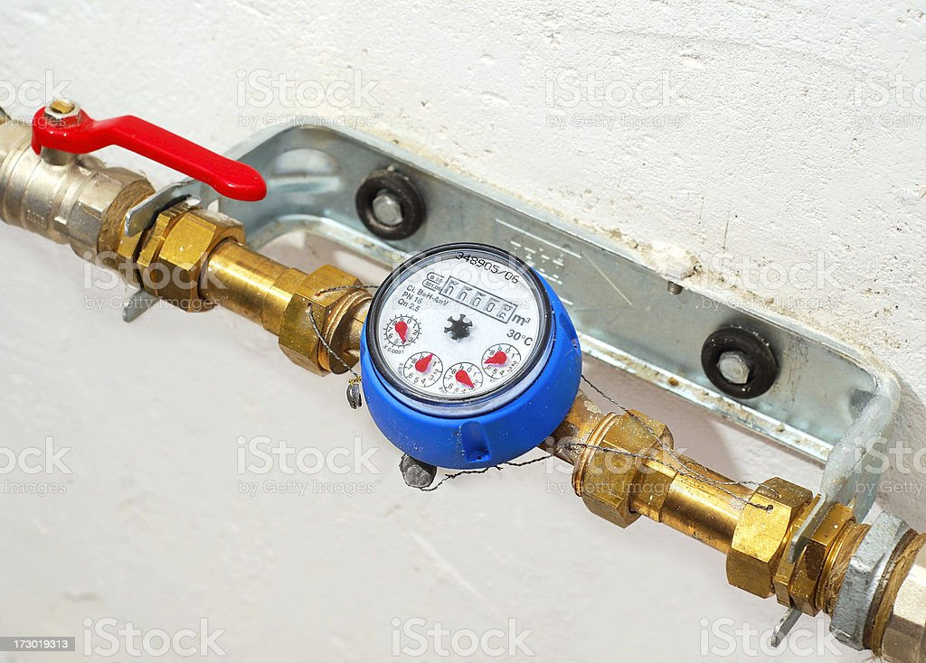 Water meter counter stock photo