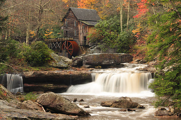 Water Mill at Babcock State Park Glade Creek Mill, Babcock State Park, West Virginia, on a beautiful autumn day. babcock state park stock pictures, royalty-free photos & images