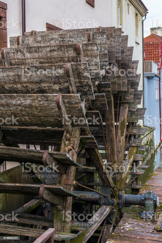 Water mill wheel stock photo