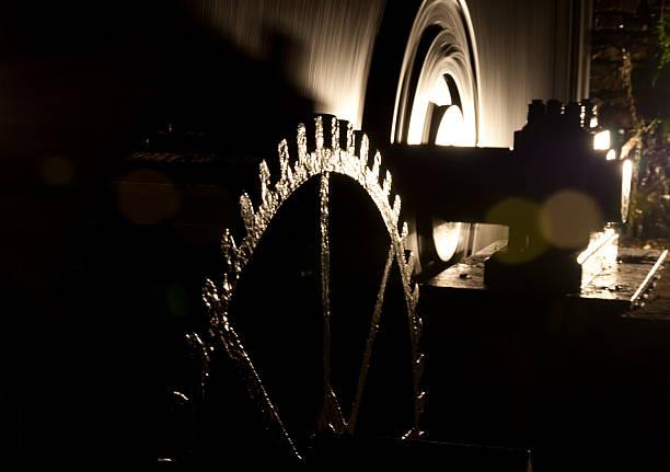 Water mill wheels stock photo