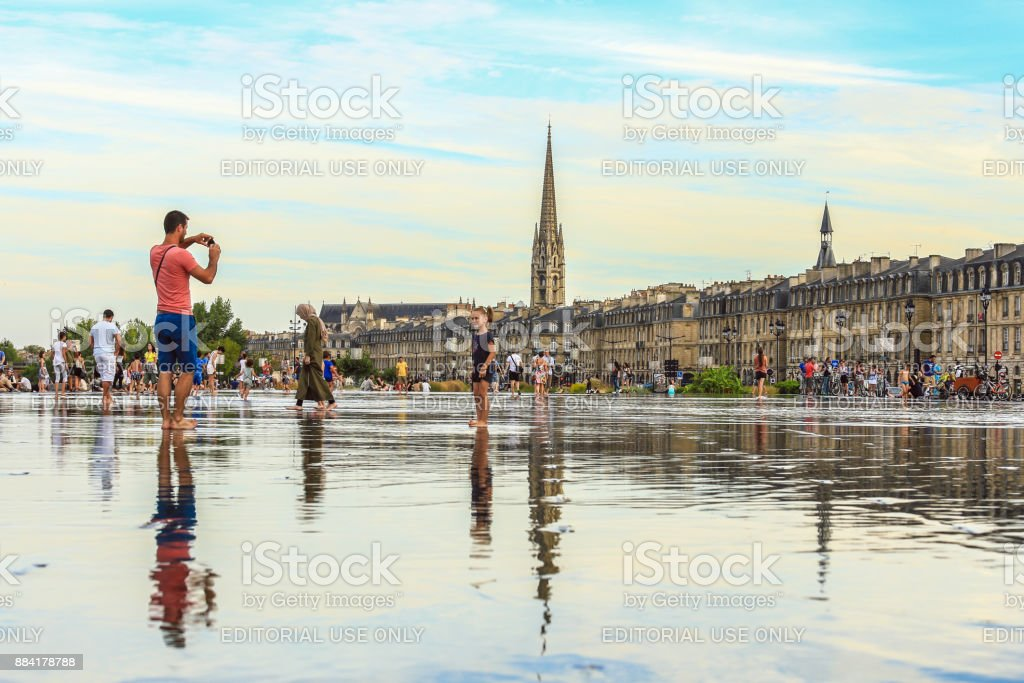 Water mirror in Bordeaux, France stock photo