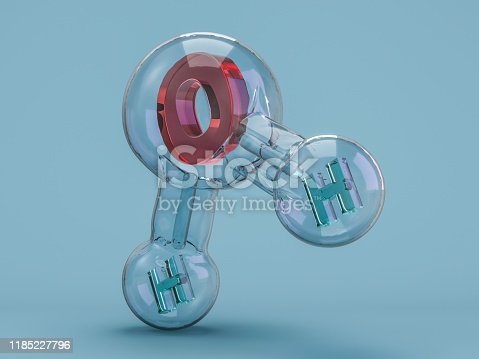 924641300 istock photo Water molecule. Ecology, biology and biochemistry concept. 3D 1185227796
