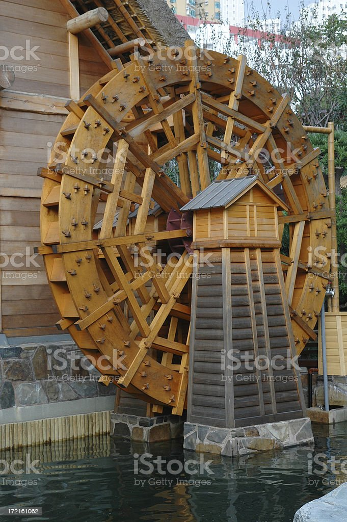 Water Motion Wooden Wheel royalty-free stock photo