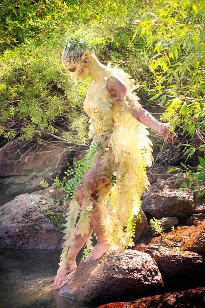water nymphe schritte in-stream - elfenkostüm damen stock-fotos und bilder