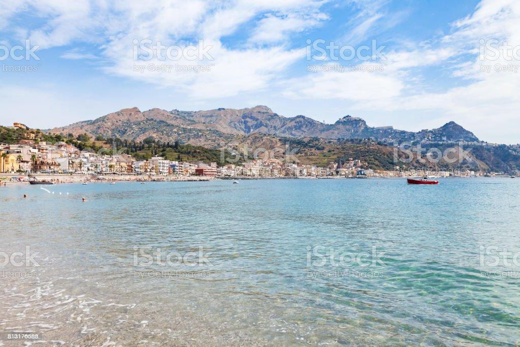 water of sea near waterfront of Giardini Naxos stock photo