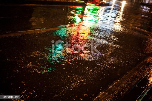 istock Water on street and color lighting 952394082