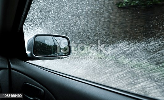 Driving on a flooded road
