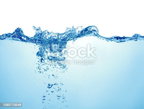 clean blue water with air bubbles and splashes on white background