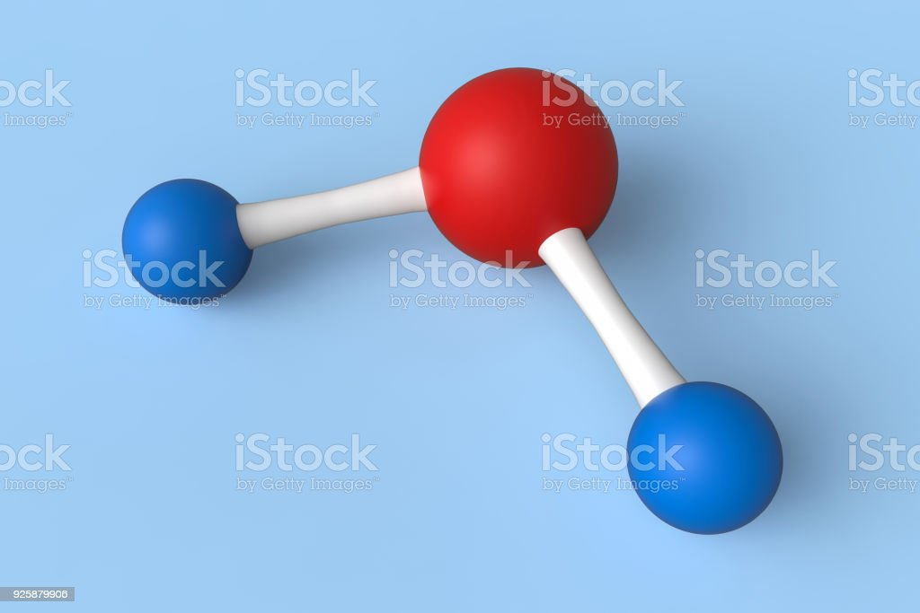 Water or H2O Molecule model isolated on blue background stock photo