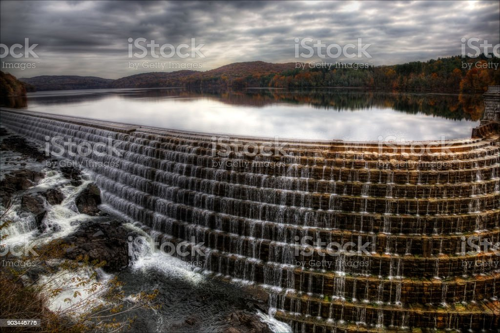 Water over flowing the New Croton Dam. stock photo