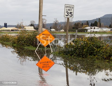 Flooded road with water over roadway traffic sign