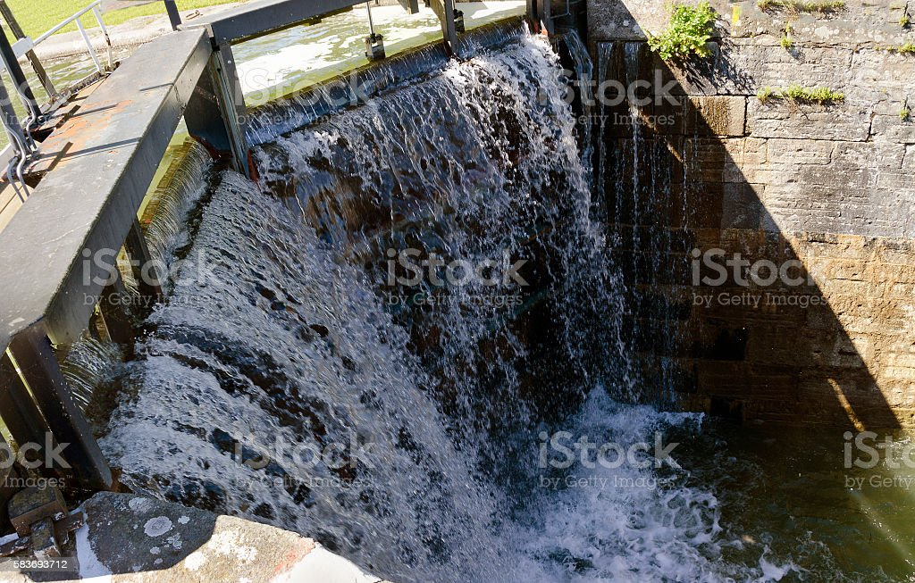 water overflows a closed gate of a lock stock photo