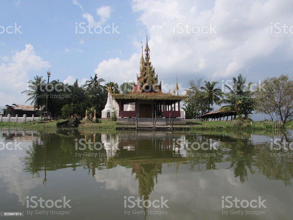 Water Pagoda in Inle Lake stock photo