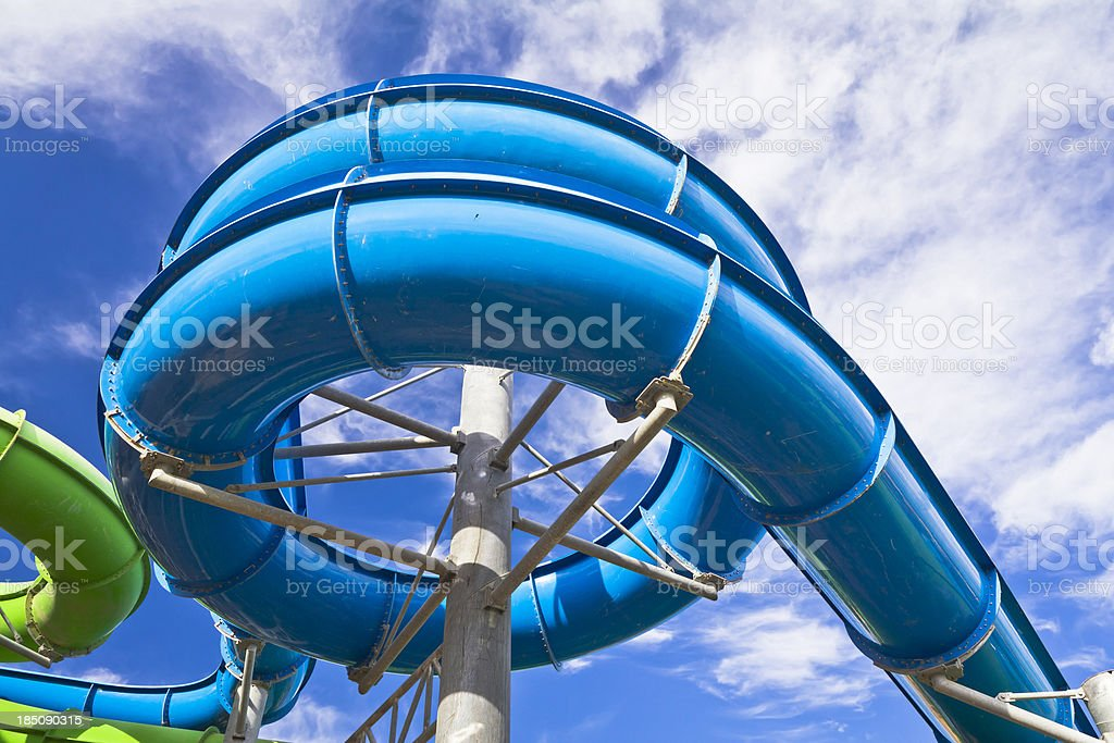 Water park pipes stock photo