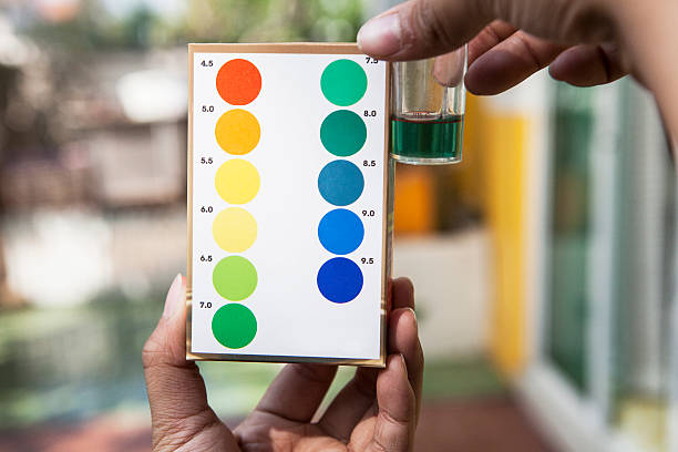 water ph testing test comparing color to indicated stock photo