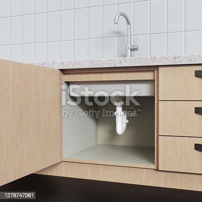 Water pipes under sink, kitchen cabinets with open doors, 3D rendering.