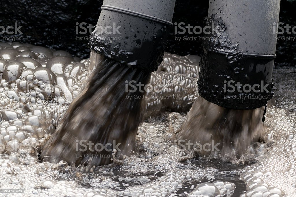 Water pollution in river. stock photo