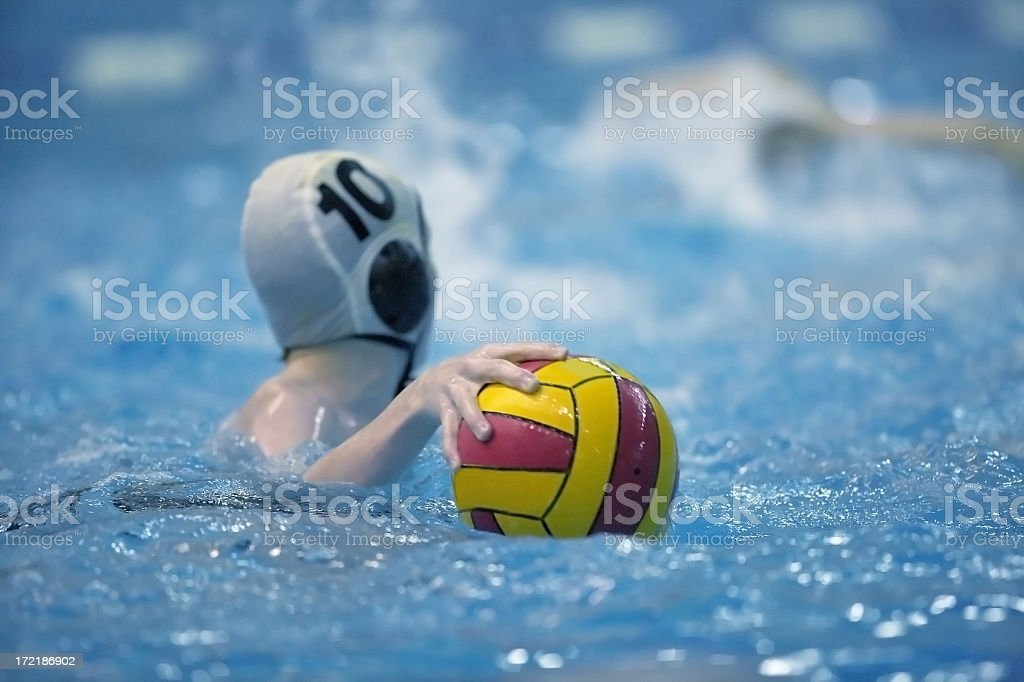 Water polo game with ball on the water stock photo
