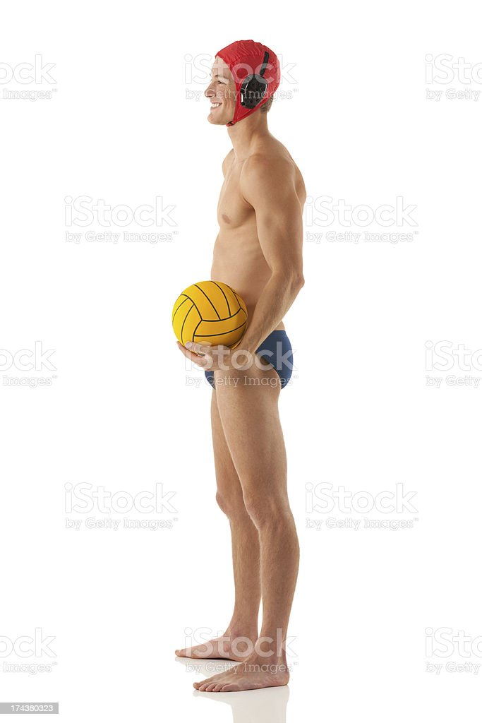 Water polo player standing royalty-free stock photo