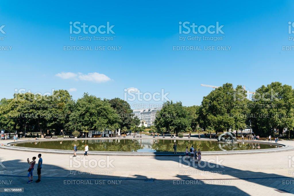 Water pond in Karlsplatz in Vienna stock photo