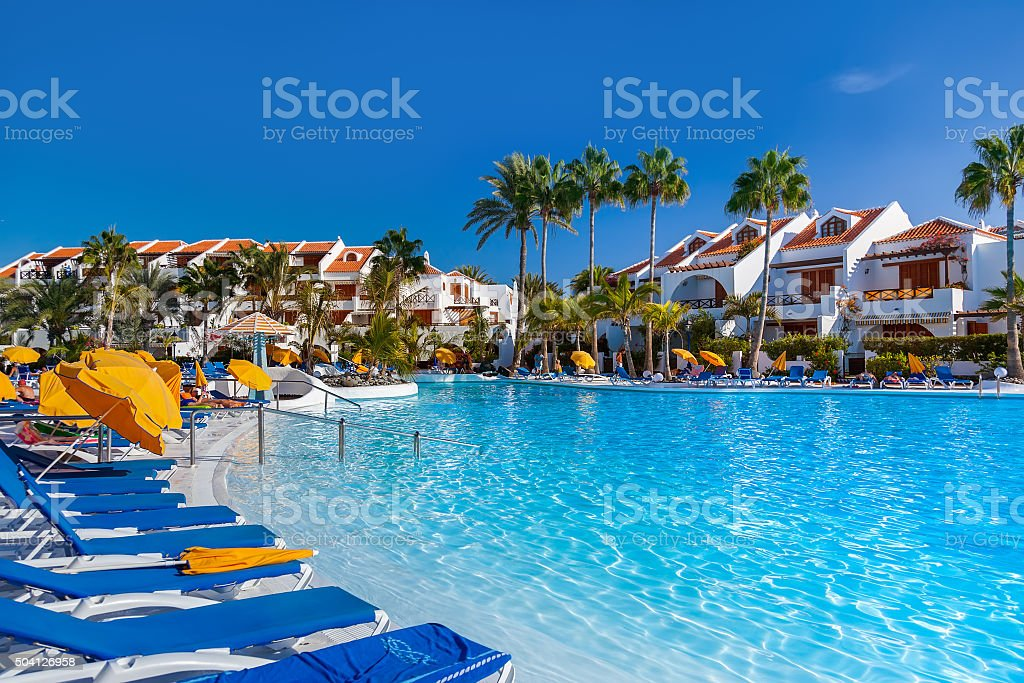 Water pool at Tenerife island stock photo