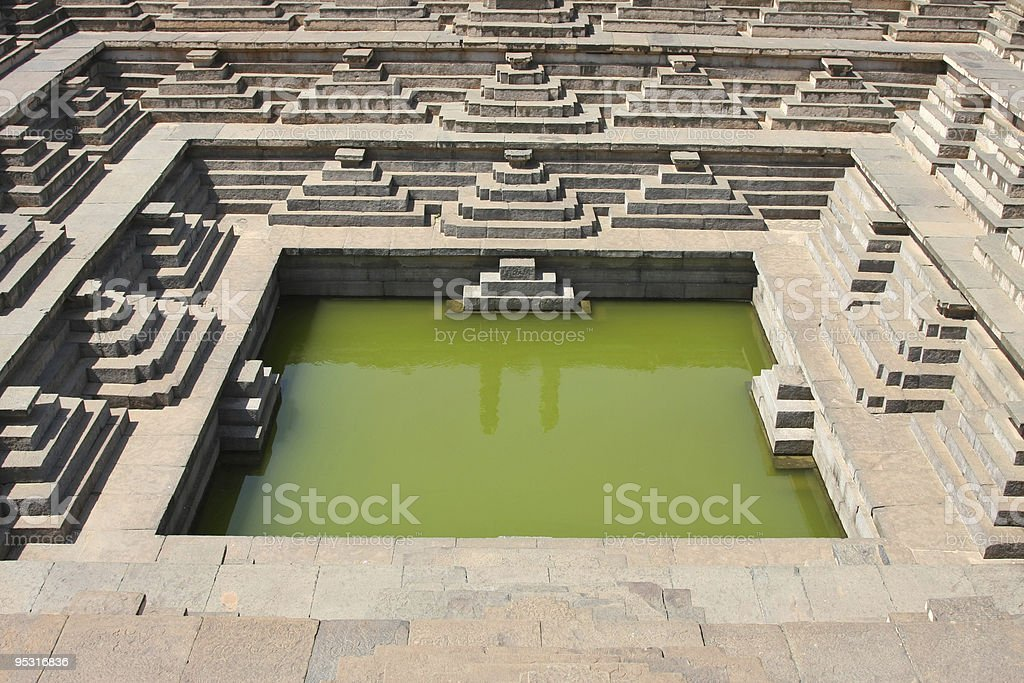 Water pool near temple royalty-free stock photo