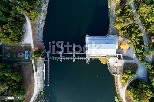 Hydroelectric power plant from above in Germany.