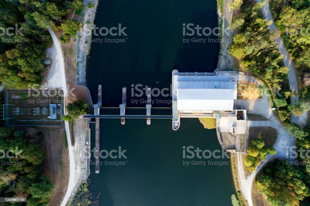 Wasserkraftwerk, Luftbild – Foto