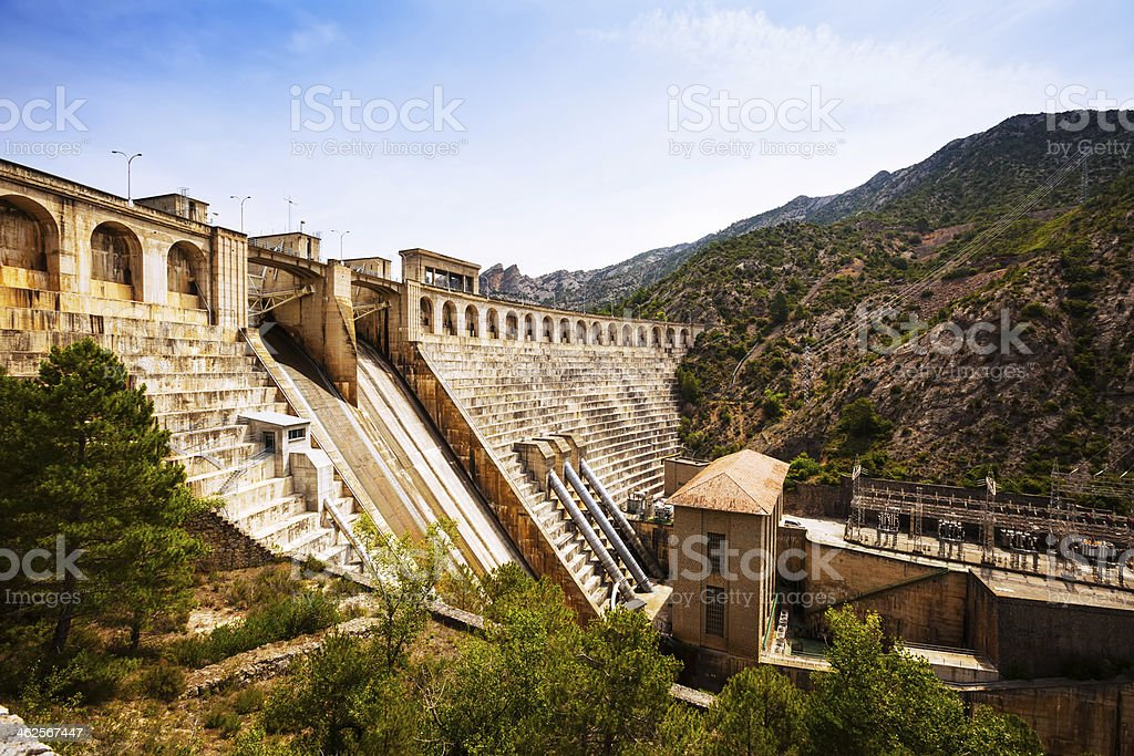 water power plant on Segre river stock photo