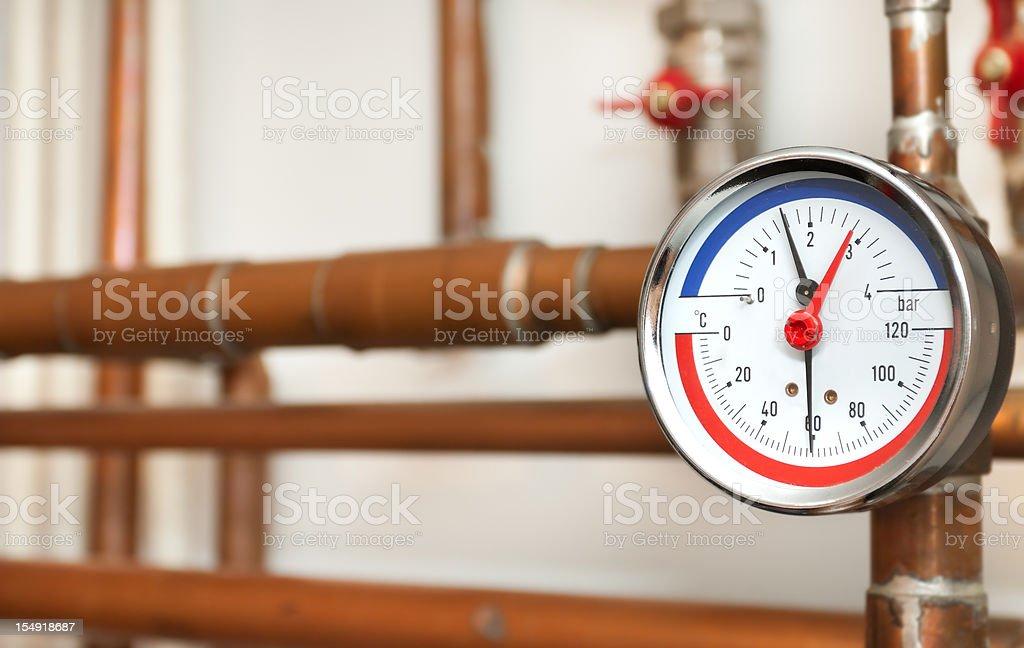 Water Pressure AndTemperature Gauge royalty-free stock photo