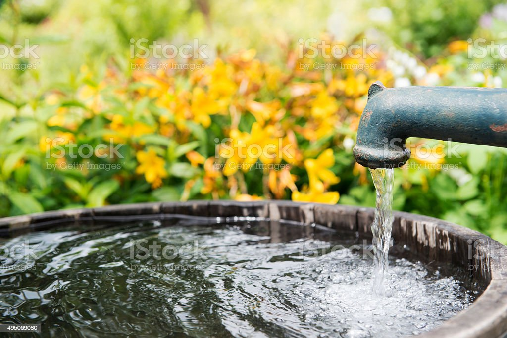 Water pump in the garden stock photo