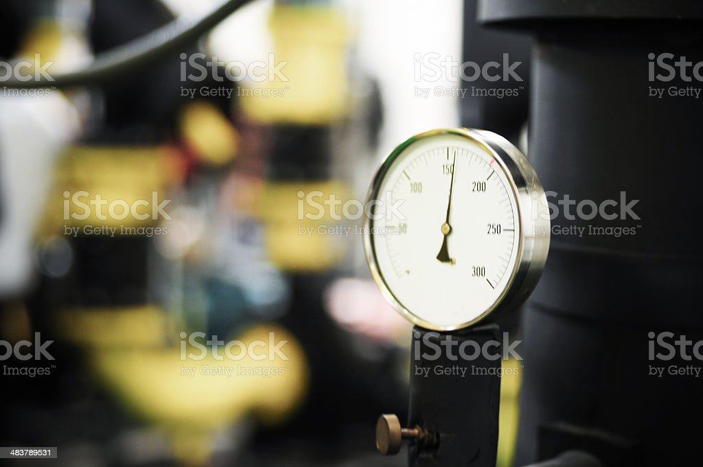 Water pumping station and industrial interior pipes royalty-free stock photo