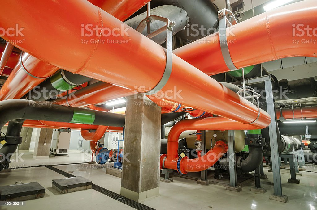 Water pumping station with industrial size pipes stock photo