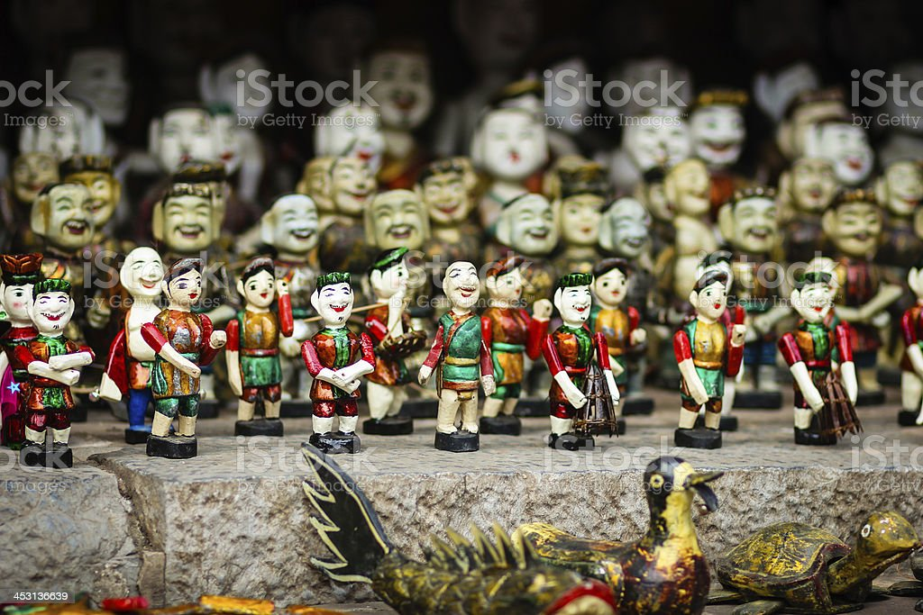 Water puppetry and Vietnamese traditional toys. stock photo